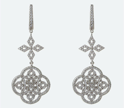 CRYPTOR GLOBAL ™️©️ Celtic Knot Clover Drop Earrings Silver