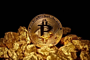 Golden Bitcoin Coin and mound of gold. B