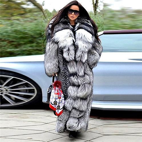 CRYPTOR GLOBAL ™️©️ Genuine  Silver Fox Fur Coat With Big Hood