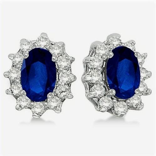 CRYPTOR GLOBAL ™️©️Blue Sapphire & Diamond Accented Earrings 14k WG (2.05ct)