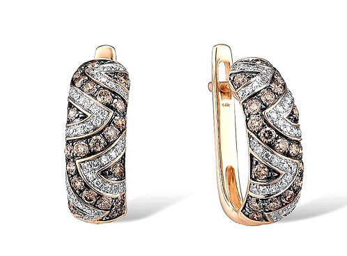 CRYPTOR GLOBAL ™️©️  Exquisite 14K 585 Rose Gold Diamond Earrings