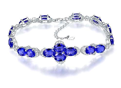 CRYPTOR GLOBAL ©️™️ Solid 18K White Gold Natural Blue  Sapphire Bracelet