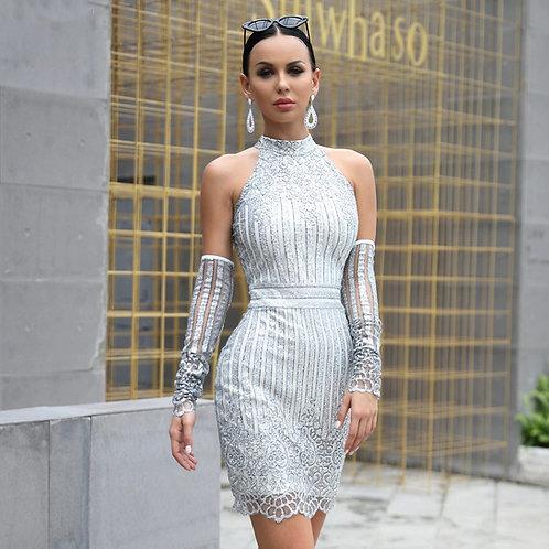 CRYPTOR GLOBAL ™️©️Evelyn Belluci  Silver Short Dress