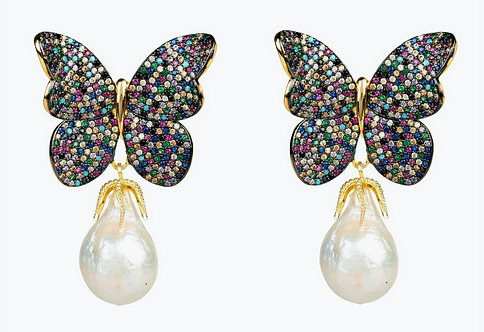 CRYPTOR GLOBAL ™️©️ Baroque Pearl Multi Colored Butterfly Earrings Gold