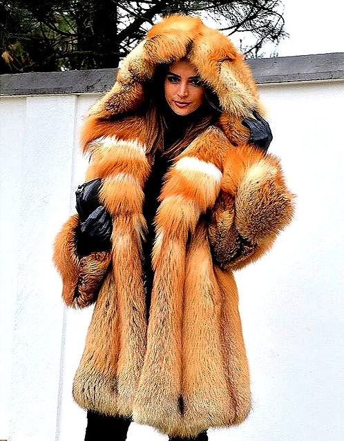 CRYPTOR GLOBAL ™️©️ Genuine Red Fox Fur Jacket with Hood