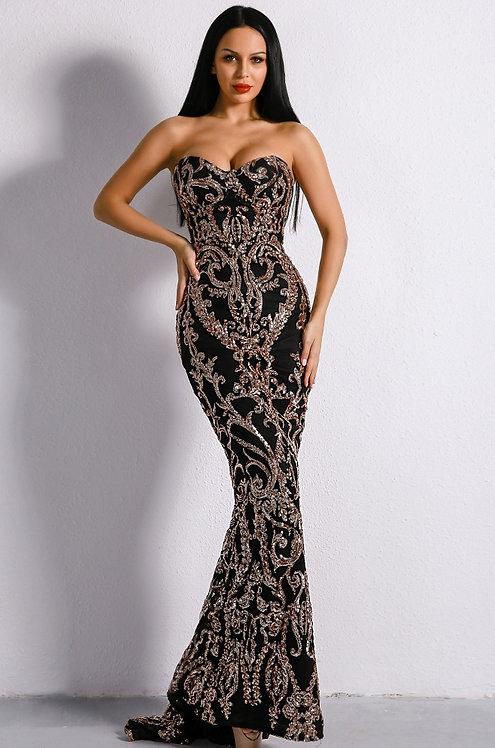 CRYPTOR GLOBAL ™️©️Evelyn Belluci Black Embellished Sequin Gown