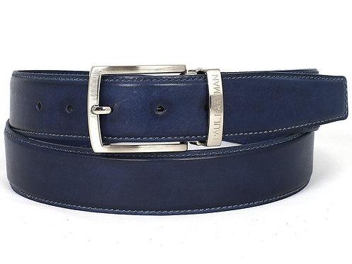 PAUL PARKMAN Men's Leather Belt Hand-Painted Navy (ID#B01-NVY)