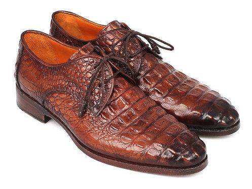 Paul Parkman Light Brown Crocodile Embossed Calfskin Derby Shoes (ID#1438TAB)