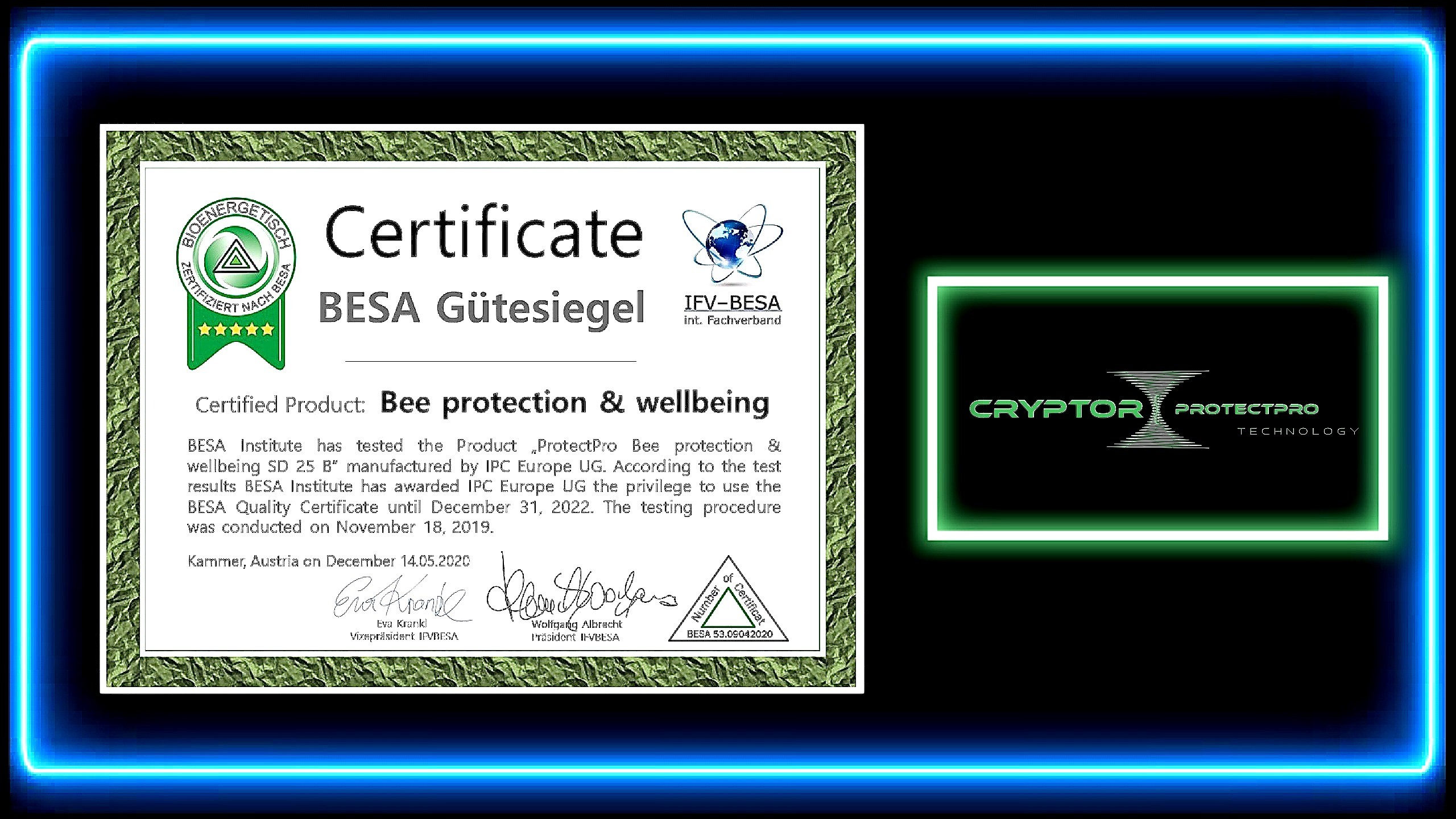CRYPTOR GLOBAL ™️©️ Protect Pro SD25B Bee Protection & Wellbeing provider covering a diameter area o