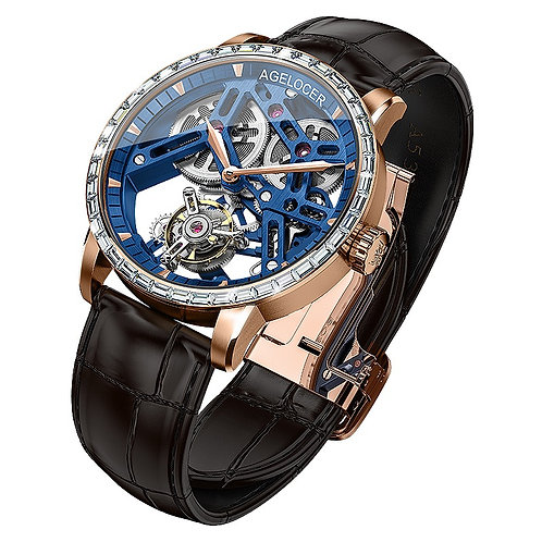 CRYPTOR GLOBAL AGELOCER Saturn Swiss Tourbillon Sapphire- Blue Skeleton Dial