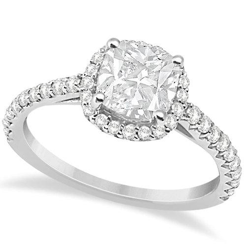 CRYPTOR GLOBAL™️©️Cushion Cut Diamond Engagement Ring 14K White Gold 0.88ct