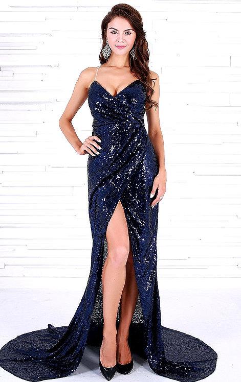 CRYPTOR GLOBAL™️©️ BLUE STAR Sleeveless Navy Blue Gown