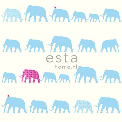 Giggle Animals Elephant Blue, Pink & White