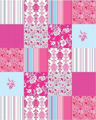 Belle Rose Patchwork Panel Blue & Pink