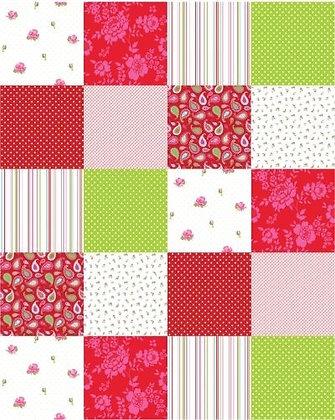 Belle Rose Patchwork Panel Green & Pink