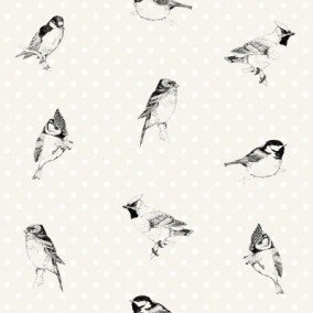 Belle Rose Birds Black & White