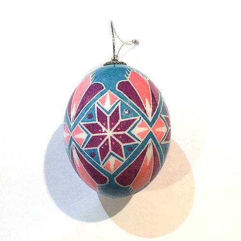 P212R - Pysanka Ornament - bright colors on chicken Eggshell