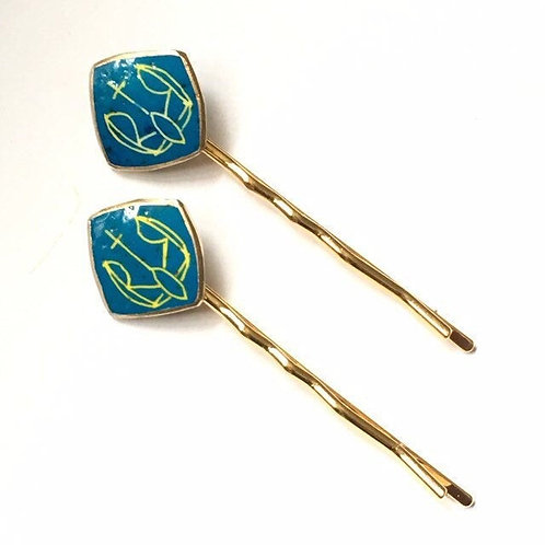 AB10- Pysanka Bobby-pin  -- Tryzub designs on  Ostrich Eggshell