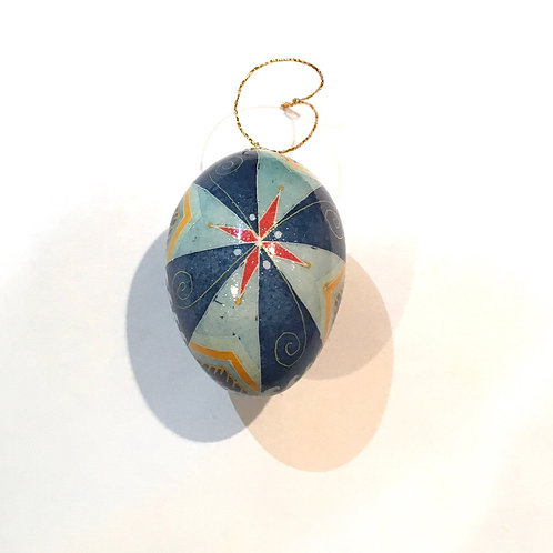 P216 - Pysanka Ornament - Blue Windmill on chicken Eggshell