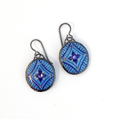 A026R  - Pysanka  Earrings --  Blue Diamond with Swarovski Crystal on Goose Eggs