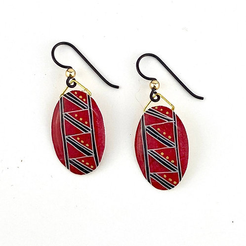 A029R - Pysanka  Earrings --  Red and Black and Gold - Goose Eggshell