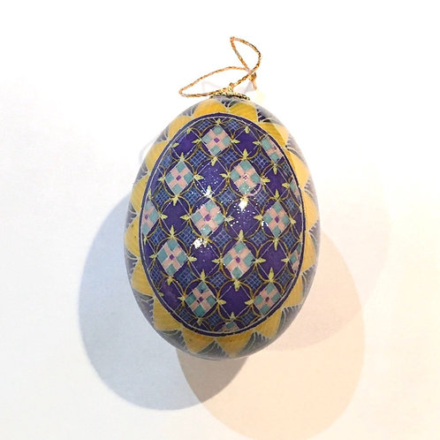 P215R - Pysanka Ornament -  Modern sunflower on Duck  Eggshell