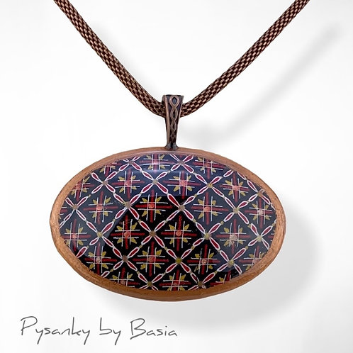 A101R - Pysanka Pendant -  Grid Pattern with Copper Trim, Goose Eggshell