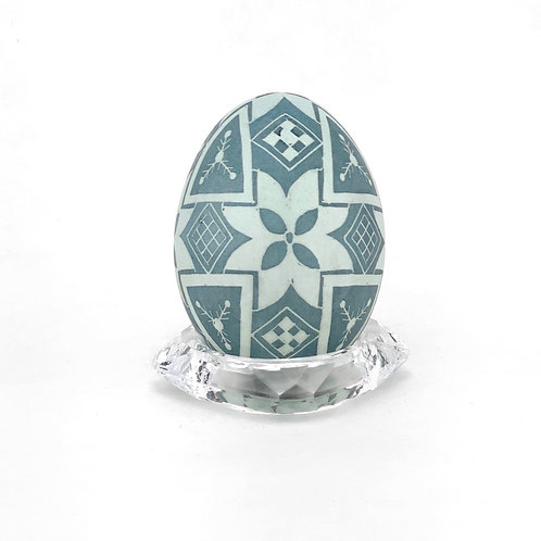 P007  - Etched and Dyed Pysanka - Blue (Aracauna) Chicken eggshell