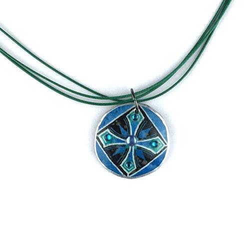A249 - Pysanka Pendant -- Blue Cross pattern , on Ostrich Eggshell