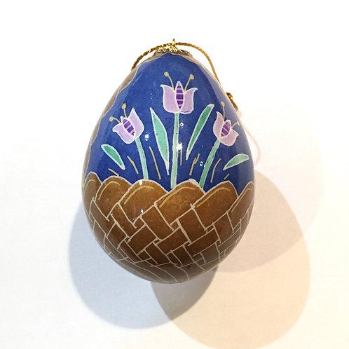 P210R - Pysanka Ornament - Flower Basket, Turkey Eggshell