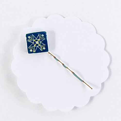 AB21 - Pysanka Bobby-pin  -- Blue Star on  Ostrich Eggshell