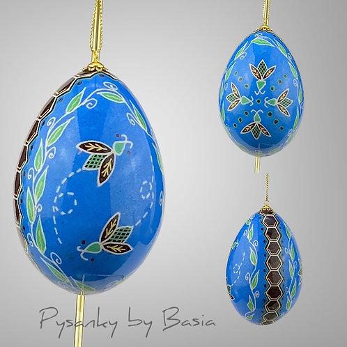 P302  - Honeybees  on  Blue Jumbo Turkey  Egg