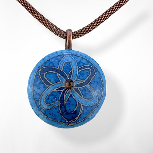 A104A  - Pysanka Pendant  - Blue / copper design