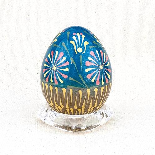 P005 -   Flower basket lemko style drop pull  Pysanka - Chicken eggshell