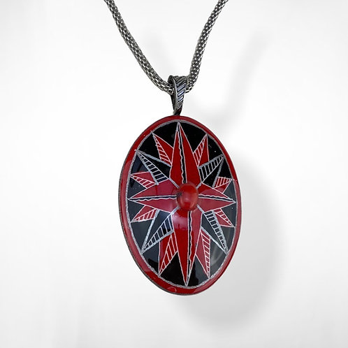 A103R - Pysanka Pendant  - Red /Black DoubleStar with Coral cabochon