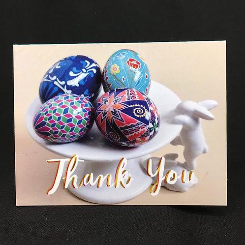 C6R - Notecard - Pysanka thank you card - bunnies and pysanky