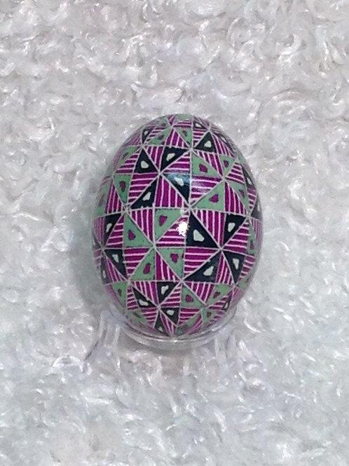 P111R- Pysanka Ornament  -  Sorokoklyn (40 triangle) design on green chicken egg
