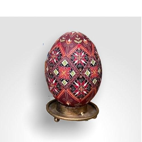 P306Rn  - Pysanka Egg -(plus bonus stand) Burgundy stars on Rhea Eggshell