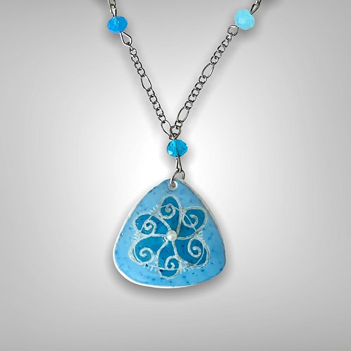 A301 - Pysanka Necklace  - Blue design