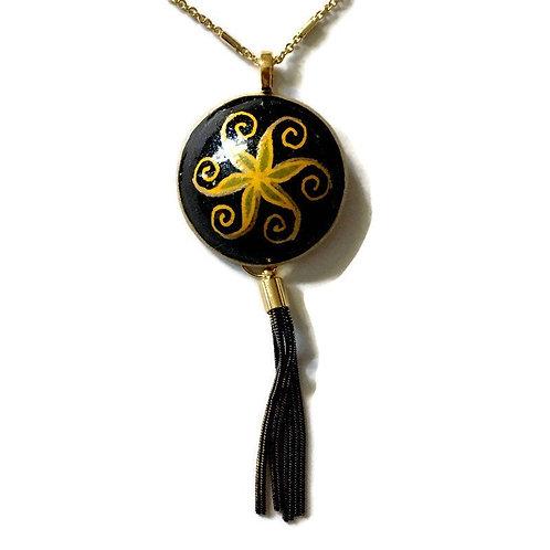 A226R  - Pysanka Pendant , Black Swirl withTassel on Goose Eggshell