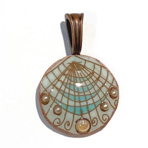 A023 - Pysanka Pendant -- Seashell with Pearls,  on blue Aracauna chicken Eggshe