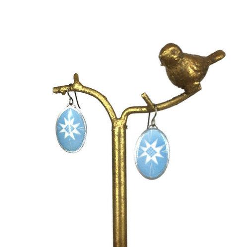 A228R- Pysanka  Earrings --  White cross on Baby blue   - Goose Eggshell - Niobi
