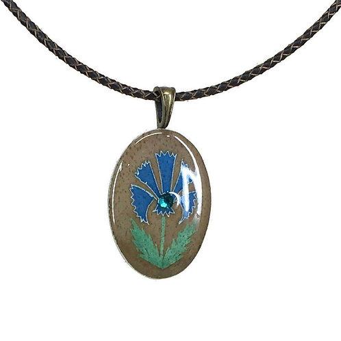 A259r - Pysanka Pendant - Blue Voloshky Flower Design  , on Goose Eggshell