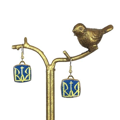 A233 - Pysanka  Earrings --  Yellow Tryzub on Blue Field   - Ostrich Eggshell -