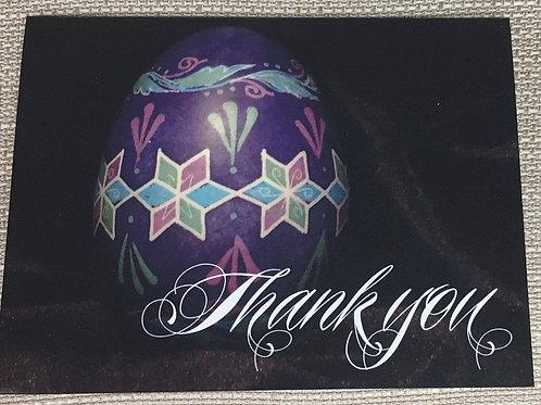 C2 - Notecard - purple pysanka thank you card