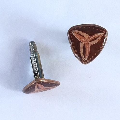 AC19 - Pysanka Cufflinks   - Browns Design on Ostrich Eggshell