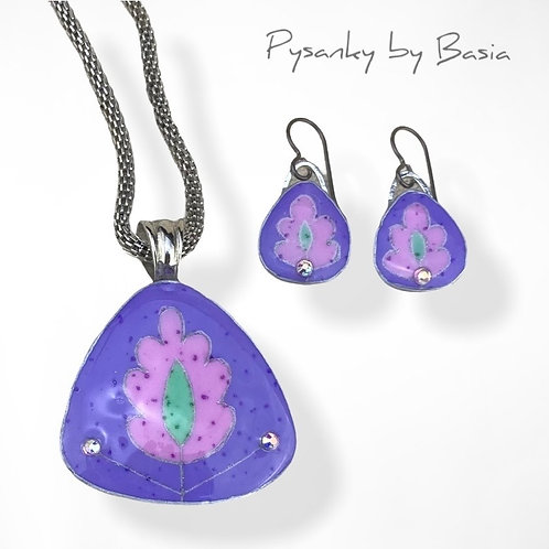 A108R - Pysanka Pendant and Earring Set - Pastel Pink/Purple