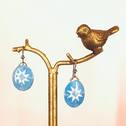 A227r- Pysanka  Earrings -  White cross on Baby blue, with Swarowski bead  - G
