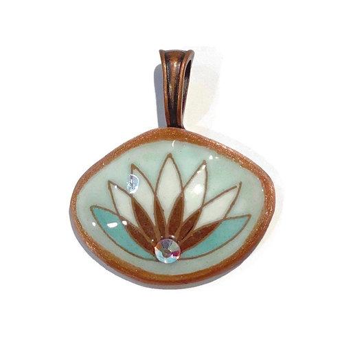 A021 - Pysanka Pendant -- Lotus flower on blue Aracauna chicken Eggshell