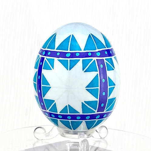 P010 - Pysanka  - Blue Chicken Eggshell